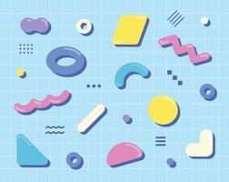 Cute shapes are scattered on the blue grid. Simple pattern design template. vector