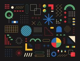 Retro-style design consisting of various shapes and patterns. black background. Simple pattern design template. vector
