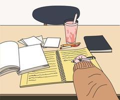 una mano tomando notas. ilustraciones de diseño de vectores de estilo dibujado a mano.
