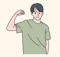 un hombre muestra fuerza al levantar el brazo. ilustraciones de diseño de vectores de estilo dibujado a mano.