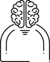Line icon for human brain vector