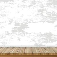 Realistic wooden table on the background of a gray old wall - Vector