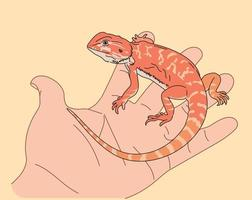 The little lizard on the hand. hand drawn style vector design illustrations.