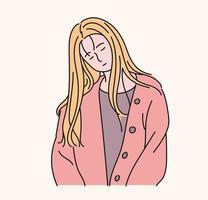 una mujer bonita está inclinando levemente la cabeza. ilustraciones de diseño de vectores de estilo dibujado a mano.