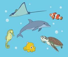varios animales en el mar. ilustraciones de diseño de vectores de estilo dibujado a mano.