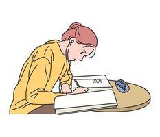 una niña está estudiando con un libro abierto. ilustraciones de diseño de vectores de estilo dibujado a mano.