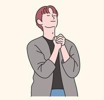 un hombre está rezando con las manos juntas. ilustraciones de diseño de vectores de estilo dibujado a mano.