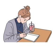 una niña sostiene una bebida en una mano y toma notas con una mano. ilustraciones de diseño de vectores de estilo dibujado a mano.