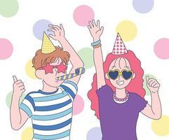 una linda pareja está celebrando una fiesta con gafas de sol divertidas. ilustraciones de diseño de vectores de estilo dibujado a mano.