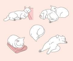 varias poses divertidas de un gato blanco. ilustraciones de diseño de vectores de estilo dibujado a mano.