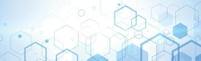 Hexagons on blue and white background - Vector