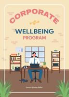 Corporate wellbeing program poster flat vector template