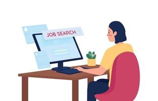 Mujer en busca de trabajo en línea carácter detallado vector de color plano