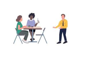 Employees on lunch break flat color vector faceless character set