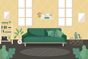 Modern living room flat color vector illustration