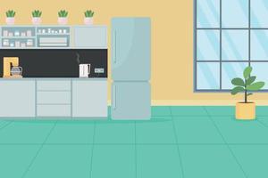 Cocina de oficina para empleados ilustración de vector de color plano