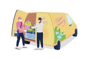 El mensajero le da flores al cliente cerca del camión de reparto, caracteres detallados vectoriales de color plano vector