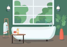 Ilustración de vector de color plano de bañera inteligente. Internet de la tecnología de las cosas en la vida cotidiana. control remoto de flujo de agua. Apartamento moderno interior de dibujos animados 2d con baño en el fondo