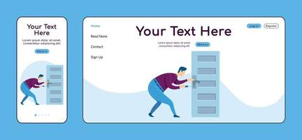 Fixing door knob adaptive landing page flat color vector template. Handyworker service mobile and PC homepage layout. Repairman one page website UI. Home repairs webpage cross platform design