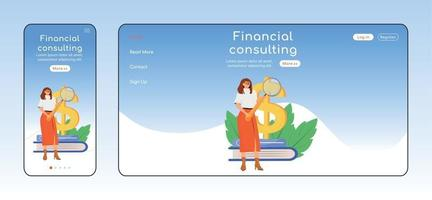 Financial consulting adaptive landing page flat color vector template. Tax payment assistance mobile and PC homepage layout. Expert service one page website UI. Webpage cross platform design