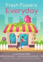 Fresh flowers everyday poster flat vector template. Buy romantic bouquet. Florist store front. Brochure, booklet one page concept design with cartoon characters. Flower shop flyer, leaflet