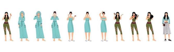 Conjunto de caracteres vectoriales de color plano de rutina matutina femenina. procedimientos de spa facial, corporal y capilar ilustraciones de dibujos animados aislados sobre fondo blanco. tratamiento diario para el cuidado de la piel y el cabello de las mujeres vector