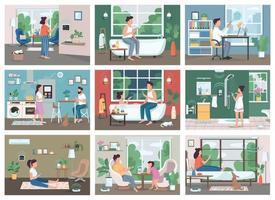 Conjunto de ilustraciones vectoriales de color plano de tecnología de hogar inteligente. jóvenes con teléfonos inteligentes personajes de dibujos animados en 2d. iot, innovaciones futuristas de la vida doméstica. control remoto automatizado de electrodomésticos vector