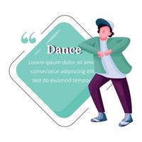 Young male dancer flat color vector character quote. Guy free dancing, breakdance teenage male performer. Citation blank frame template. Speech bubble. Quotation empty text box design