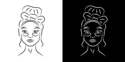 mujer con parches debajo de los ojos contorno retrato ilustración vectorial. Cara de niña con arte de línea realista de productos para el cuidado de la piel. Señora ojos ojeras tratamiento carácter de contorno sobre fondos en blanco y negro vector