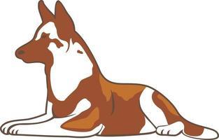 Sitting dog character illustration vector