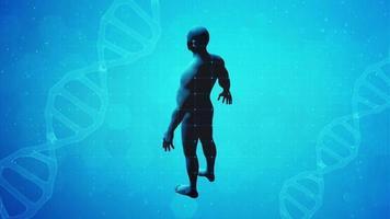 figura humana giratória em 3d estilo científico e fundo de DNA em 3D