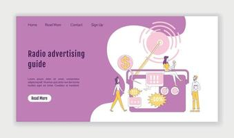 Radio advertising guide landing page flat silhouette vector template. Marketing technology homepage layout. Broadcasting one page website interface with cartoon outline character. Web banner, webpage