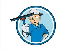 Cartoon character of cleaning service worker