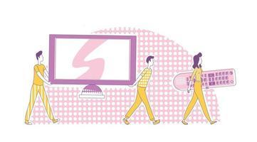 Ilustración de vector de concepto de línea fina de sistema de cine en casa. hombres que llevan televisión y una mujer que sostiene grandes personajes de dibujos animados 2d de control remoto de tv para diseño web. idea creativa de entretenimiento multimedia