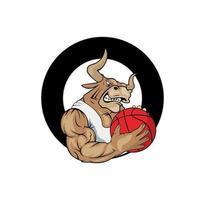 personaje de dibujos animados de la ilustración del equipo de baloncesto toro vector
