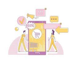 Ilustración de vector de concepto de delgada línea de marketing móvil. clientes personajes de dibujos animados 2d para diseño web. negocio de publicidad en internet, tecnología de compras en línea, idea creativa de promoción de venta