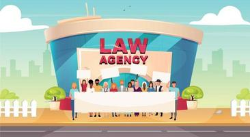 Legal strike flat color vector illustration. Public defence labor right. Group outside law agency. Urban glass building exterior. Modern 2D cartoon cityscape with activists on background