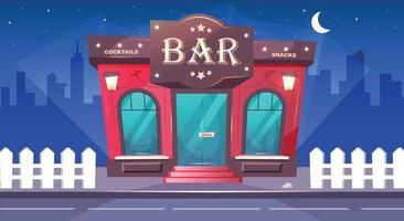 Bar at nighttime flat color vector illustration. Local cafe with sidewalk at night. Luxury pub exterior. Place for drinks. Red brick building. Urban 2D cartoon cityscape with nobody on background