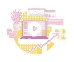 Ilustración de vector de concepto de línea fina de marketing de contenidos. composición de dibujos animados 2d de negocio de publicidad moderna para diseño web. promoción en línea, desarrollo de la base de clientes, idea creativa de crecimiento de ventas