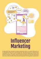 Plantilla de vector de silueta plana de cartel de marketing de influencer. folleto de publicidad viral, folleto de diseño de concepto de una página con personajes de dibujos animados. Folleto de promoción de redes sociales, folleto con espacio de texto.