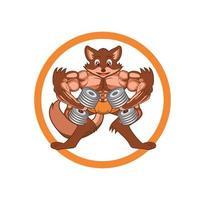ilustración de edificio de cuerpo de fitness de personaje de zorro de dibujos animados vector