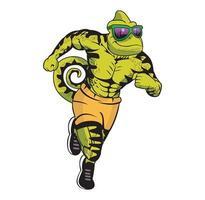 Lizard cartoon character running body building illustration vector
