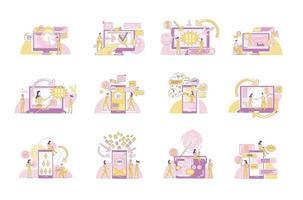 Conjunto de ilustraciones vectoriales de concepto de línea fina de marketing digital. comercializadores y clientes personajes de dibujos animados 2d para diseño web. negocio de publicidad en internet, tecnología de promoción en línea ideas creativas vector
