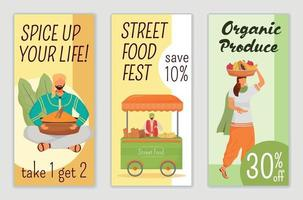Street food fest, traditional holiday flyers flat vector templates set. Spice sale printable leaflet design layout. Organic produce special offer advertising web vertical banner, social media stories