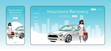 Insurance recovery responsive landing page vector template. Legal service homepage layout. One page website UI with cartoon character. Financial safety assurance adaptive webpage cross platform design