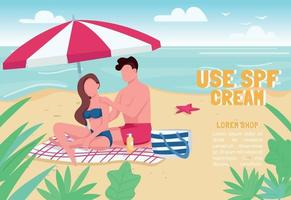 Use SPF cream banner flat vector template. Brochure, poster concept design with cartoon characters. Couple sunbathing, applying sunblock lotion horizontal flyer, leaflet with place for text