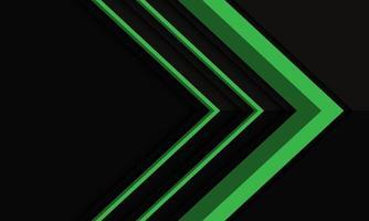 Dirección de flecha verde abstracta en sombra metálica negra con diseño de espacio en blanco ilustración de vector de fondo futurista moderno.