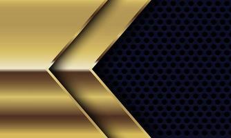 Dirección de flecha brillante de oro abstracto en círculo negro diseño de malla ilustración de vector de fondo futurista de lujo moderno.