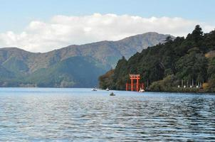 Landscape picture of lake and mountain with the red wooden shrine for luck