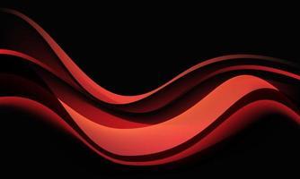 Sombra de curva de onda roja abstracta dinámica en la ilustración de vector de fondo negro.